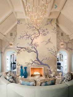 beautifully painted fireplace