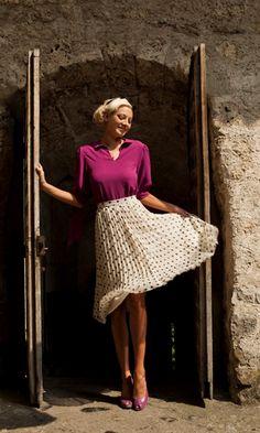 polka dot pleated skirt: @Shabby Apple
