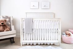 All White Nursery with metallics and wallpaper ceiling - #ProjectNursery