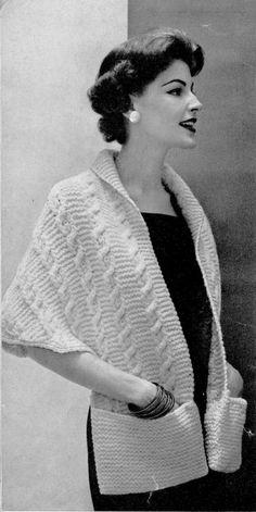Vintage Knit Stole Pattern  PDF  CONTRALTO by suerock on Etsy, $3.99 pocket, knitting patterns, stole pattern, 2dayslook poncho, pattern pdf, poncho 2dayslook, pattern andor, vintag knit, knit pattern