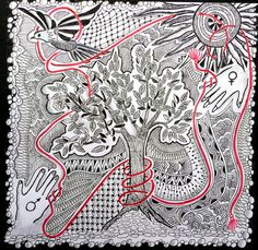 """""""An invisible red thread connects those who are destined to meet regardless of time, place or circumstance. The thread may stretch or tangle, but it will never break."""" Chinese proverb . My response to Zentangle Challenge # 49 at iamthedivaczt.blo..."""