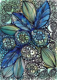 #zentangle peacock color, drawings, patterns, blue flowers, doodles, colors, art, blues, ink