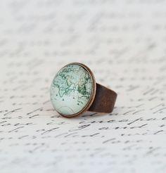 Statement Ring Map Ring Gift For Traveler by JacarandaDesigns