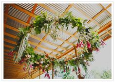 Modern garden styled shoot | Details + Decor, Flowers + Greenery | 100 Layer Cake amazing floral wreath hung as chandelier made of ferns magnolia leaves tulips flowers perfect decoration