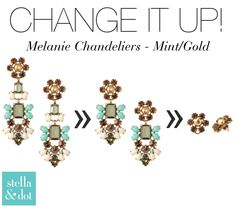 CHANGE IT UP! with the Melanie Chandeliers in Mint/Gold by Stella & Dot! Wear as a stud, medium chandelier or combine all three to create the most dramatic look.