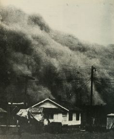Dust storm during the Dust Bowl of 1930s