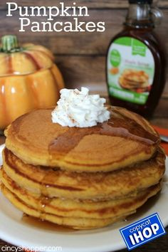 Copycat IHOP Pumpkin Pancakes Recipe. Enjoy a tasty fall breakfast at home and save $$'s