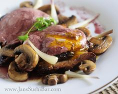 Wine Poached Eggs with Crispy Pork Belly and Mushrooms