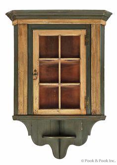 "Pennsylvania painted pine hanging corner cupboard, late 18th c., 60 1/2"" h., 37"" w."
