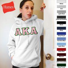 Alpha Kappa Alpha Hanes 10oz. Hoody $43.95 #Greek #Sorority #Clothing #AKA #AlphaKappaAlpha