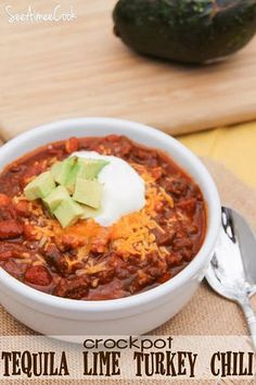 Crockpot Tequila Lime Turkey Chili