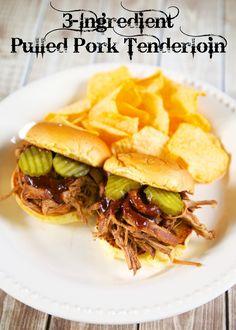 3-Ingredient Pulled Pork Tenderloin {Slow Cooker}