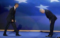 Bill Clinton bowing to Barack Obama at the 2012 DNC