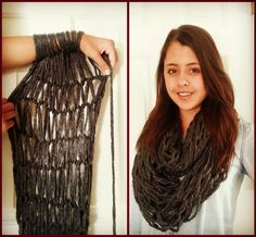 Arm Knitted Chunky Infinity Scarf :) 30 min DIY