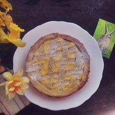 Lemon Ricotta Crostata, daffodils and an @Elizabeth Graeber bunny drawing