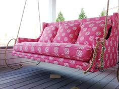 recycled sofa now a back-porch swing. Upcycle/recycle/repurpose