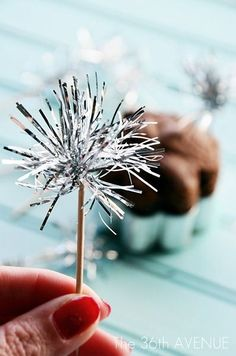DIY Tinsel Sparkler Toppers Tutorial by the36thavenue.com