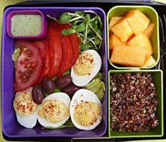 Deviled Egg salad, cantaloupe, and Red Quinoa