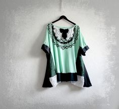 Green Black Tunic Top Plus Size Clothes Lace Bib Shirt Boho Clothing Loose Fit Wearable Art 3X