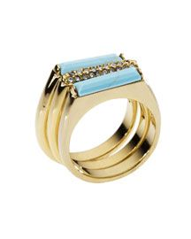 Michael Kors Turquoise Stack Ring with Pave Detail