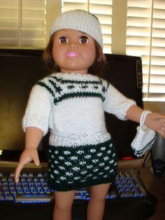 Ladyfingers - AG doll - Sweater, Hat, Purse and Skirt in Houndstooth Check