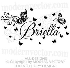 Butterfly Personalized Name Vinyl Wall Decal Lettering Nursery Girls Bedroom. $15.54, via Etsy.