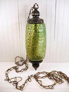 Vintage Swag Lamp Green Glass Metal Hanging by vintagegoodness, $39.95