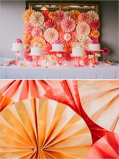 orange and pink cake table - we could do varying shades of turq and coral for the reception.  this would be a great project for us, very simple.