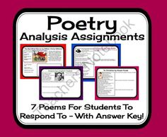 Poetry Analysis Response Sheets For 7 Poems: Printable Activities & Answer Key  from Presto Plans on TeachersNotebook.com -  (14 pages)  - This middle and high school resource is an excellent addition to any poetry unit.  Included are 7 poems that students love with response questions (summarizing, theme, figurative language, personal response, connections etc).   Also included are detailed