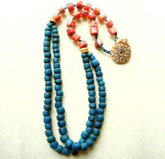 coral, island mosaic, mosaic necklac, colors, islands, color combinations, beads, jewelleri strand, jewelri