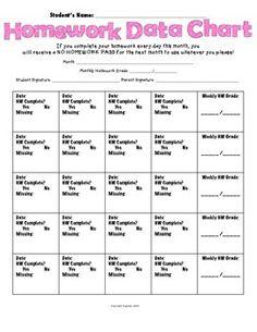 Free Homework DATA Chart!