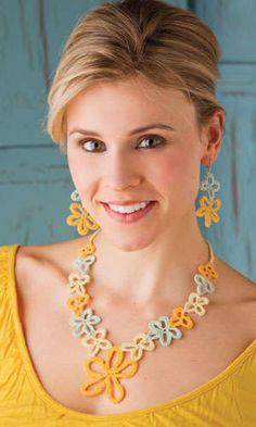 Open Flowers #crochet #jewelry, design by Joyce Bragg, Crochet! Magazine