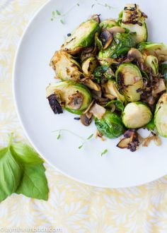 #Roasted #Brussels sprouts with sauteed shallots and #mushrooms (#Vegan) with #Garlic infused #AvocadoOil perfect pairing since Avocado Oil has a 500 F Smoke point! #healthy #delicious