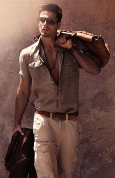 I love cargo pants on a guy! With a button up and rolled sleeves....perfectly mens casual