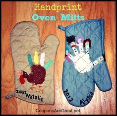 Gift Idea: Handprint Oven Mitts. Turkeys and snowmen make great handprints and wonderful present. #thanksgiving #christmas #crafts