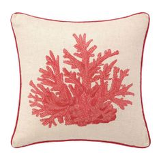 Embroidered Coral Pillow. Shades of red and linen create a year round color palette. Down feather insert included.