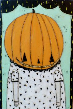 Halloween Folk Art Pumpkin Painting  Lia Lane