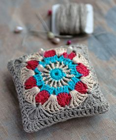 Crochet Linen Pincushion...great use of a crocheted granny square