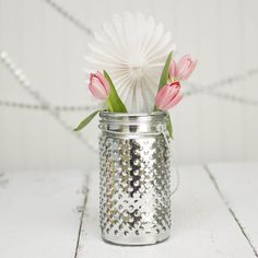 """We love the silver and white winter/Christmas trend. Pictured is our 7.25"""" Silver Hobnail Jar. Hint: Add a small splash of color to make a bold statement!"""