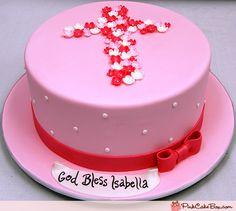 Pink Cross Communion Cake