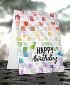 Rainbow Lines Birthday Card by Sarah Moerman