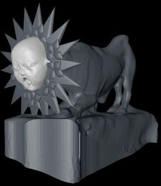 lionbaby by @anamarva, derived from Marble Statue of a Lion on June 2, 2012 at #Met3D