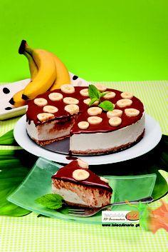 Cheesecake de Banana com Calda de Chocolate - Clique na imagem para ver a receita