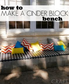 Make an outdoor bench out of cinder blocks! It's easy!