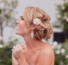 bridesmaid hair, style, romantic hair, side updo, weddings, prom hair, wedding hairs, hairstyl, little flowers