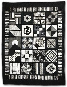 """Rhapsody - Black and White"" by Lynette V. Baker at Empire Quilters. A sampler quilt"