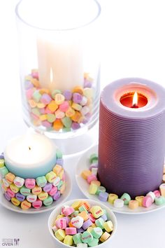 Break out the candy (and eat some, of course) for a fun DIY candle project. Experiment with different candy for all the holidays this year!