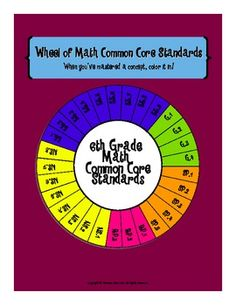 This fun wheel of standards includes all 29 Common Core math standards for 6th grade. Display the colorful copy in your classroom and provide each student a copy of the blackline master to keep in their math notebook. When students have mastered a concept have them color in the appropriate piece of the wheel. This will help encourage kids to be accountable for their own learning and keep them motivated to master every concept!