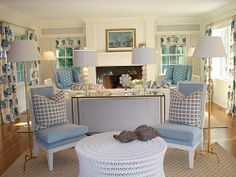 Blue and White decorating colors. Floating furniture layout idea for multiple seating areas:  HB Home Design
