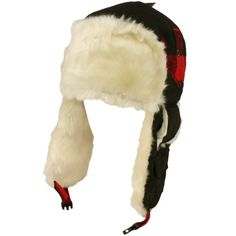 Winter Faux Fur Plaid Check Thick Trooper Trapper Ski Aviator Cap Hat Black with Red $19.95